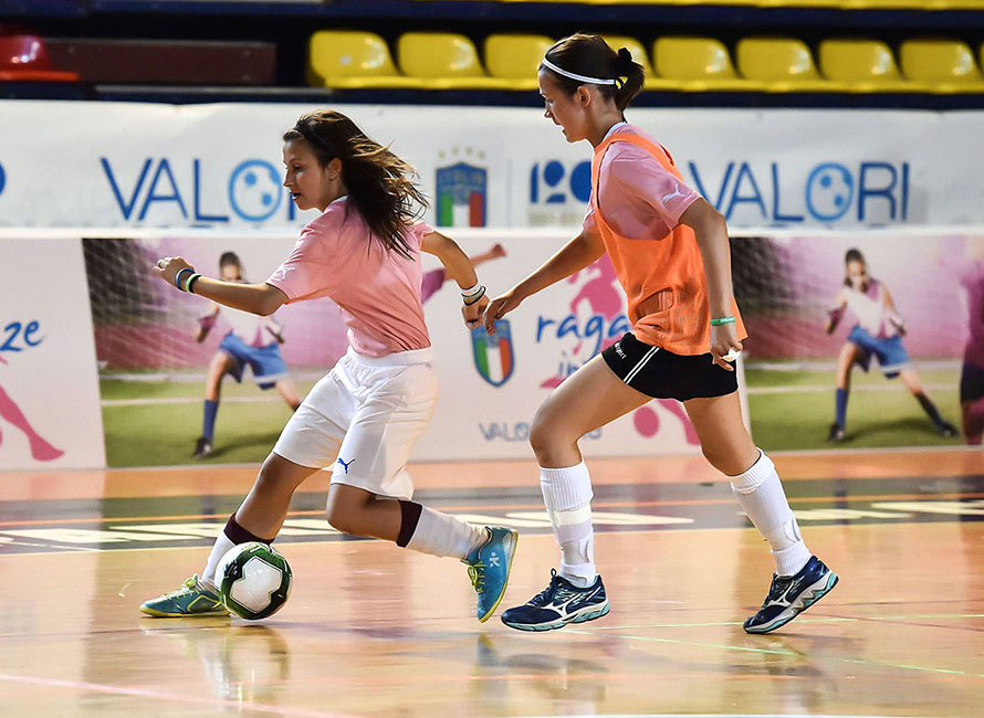 "CESENA, ITALY - JUNE 02:  Players of Veneto and players of Trentino Alto Adige in action during ""Ragazze in Gioco"" Youth Soccer Tornament at Palazzetto Carisport on June 2, 2018 in Cesena, Italy.  (Photo by Giuseppe Bellini/Getty Images)"