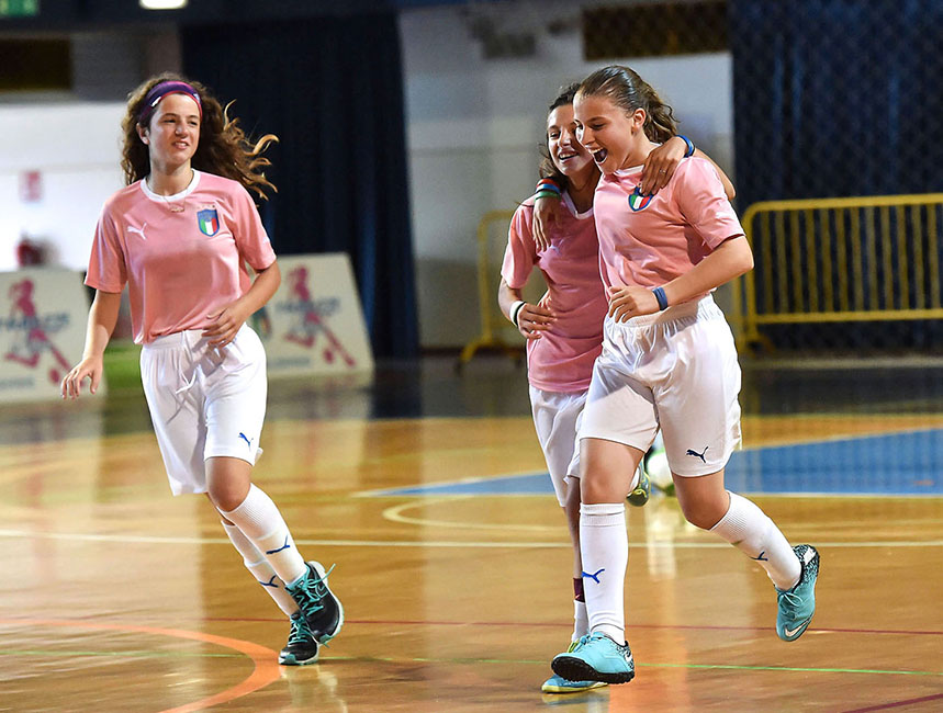"CESENA, ITALY - JUNE 02:  Players of Veneto.celebrates after scoring the goal 3-1 during ""Ragazze in Gioco"" Youth Soccer Tornament at Palazzetto Carisport on June 2, 2018 in Cesena, Italy.  (Photo by Giuseppe Bellini/Getty Images)"